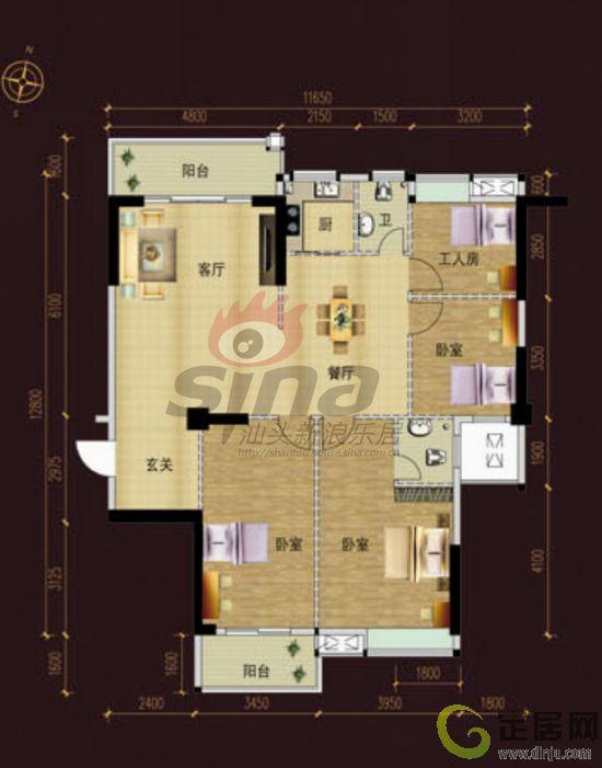 一廳四房三層120平方米的設計圖